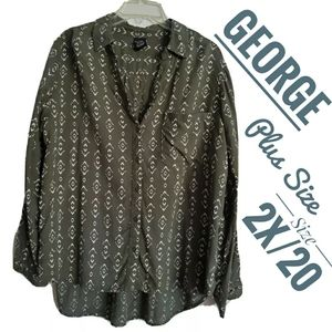 George khaki green button up blouse plus size 2x